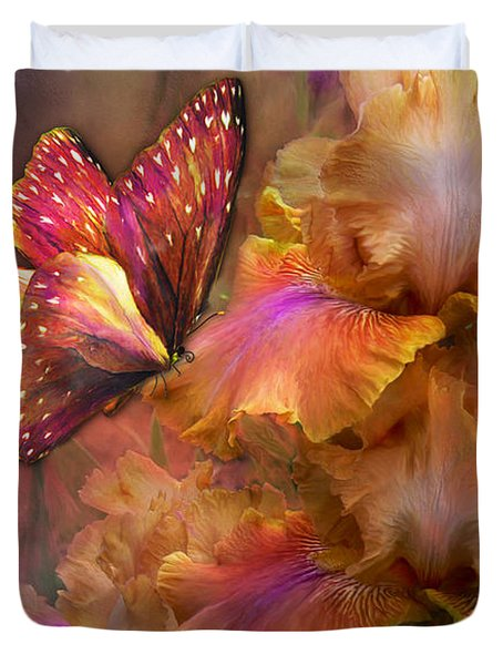 Goddess Of Sunrise Duvet Cover by Carol Cavalaris