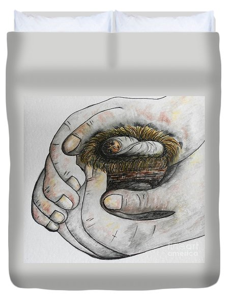 Duvet Cover featuring the painting God's Greatest Gift  by Eloise Schneider
