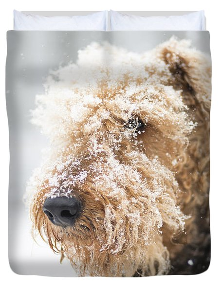 Dog's Portrait Under The Snow Duvet Cover