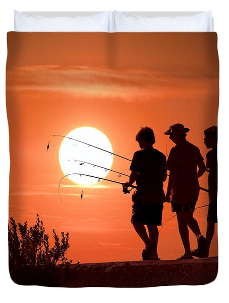 Going Fishing Duvet Cover by Randall Nyhof
