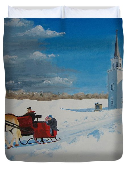 Going Home From Church Duvet Cover by Norm Starks