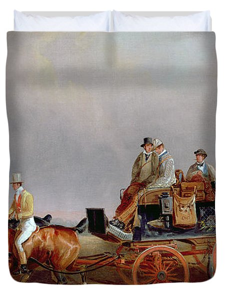 Going Shooting A Postillion And Pair With A Game Cart Duvet Cover by Charles Cooper Henderson
