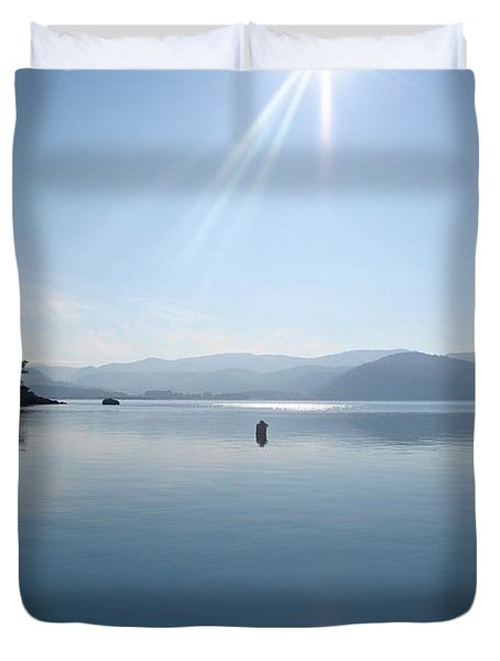 Duvet Cover featuring the photograph Gokova Bay  by Tracey Harrington-Simpson