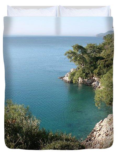 Duvet Cover featuring the photograph Gokova Korfezi Akyaka by Tracey Harrington-Simpson
