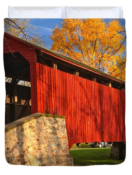 Gold Above The Poole Forge Covered Bridge Duvet Cover