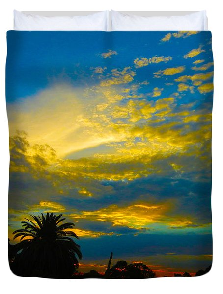 Gold And Blue Sunset Duvet Cover