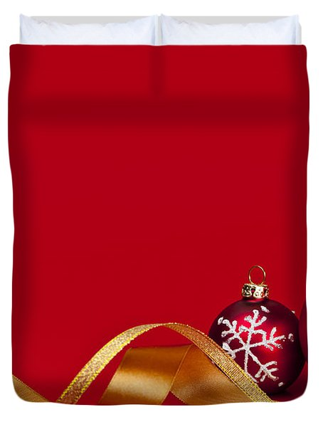 Gold And Red Christmas Decorations Duvet Cover by Elena Elisseeva