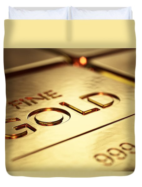 Gold Bars Close-up Duvet Cover