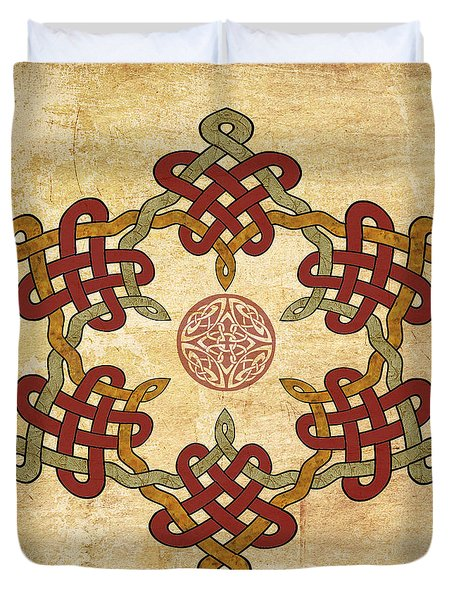 Duvet Cover featuring the painting Gold Burgundy Celtic Knot by Kandy Hurley