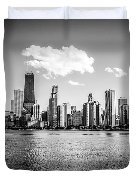 Gold Coast Skyline In Chicago Black And White Picture Duvet Cover by Paul Velgos