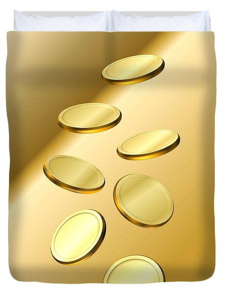 Duvet Cover featuring the digital art Gold Coins by Cyril Maza
