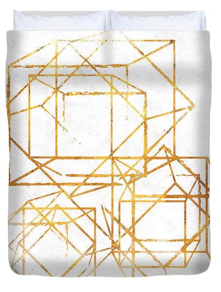 Gold Cubed I Duvet Cover