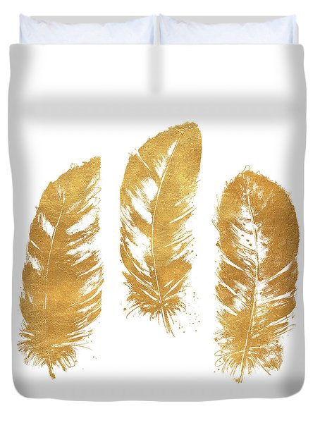 Gold Feather Square Duvet Cover