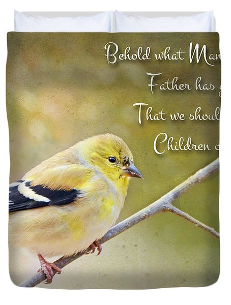 Gold Finch On Twig With Verse Duvet Cover by Debbie Portwood