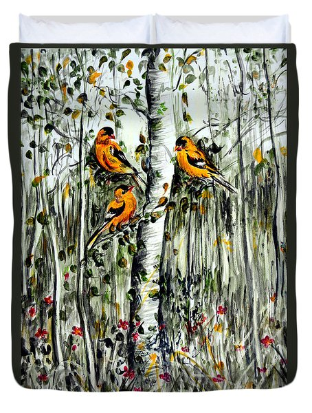 Gold Finches Duvet Cover
