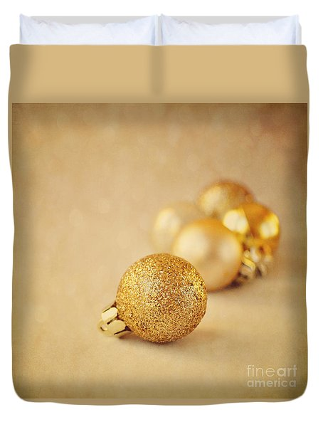 Gold Glittery Christmas Baubles Duvet Cover