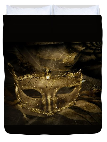 Gold In The Mask Duvet Cover by Amanda Eberly-Kudamik