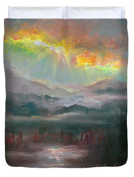 Gold Lining - Chugach Mountain Range En Plein Air Duvet Cover by Talya Johnson