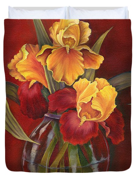 Gold N Red Iris Duvet Cover