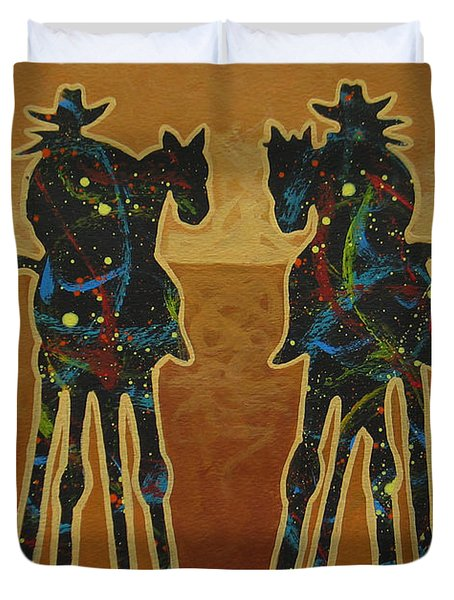 Gold Riders Duvet Cover by Lance Headlee