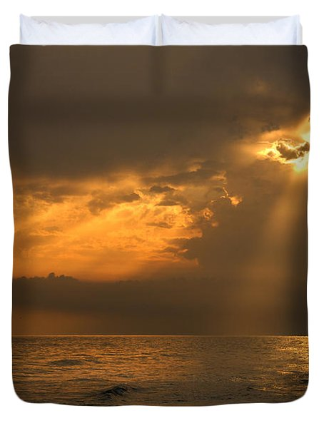 Gold Through The Clouds Duvet Cover by Guido Montanes Castillo