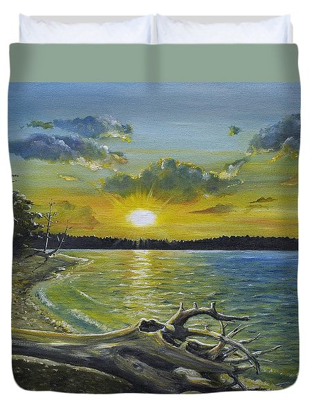 Golden Afternoon At Ketron Island Duvet Cover
