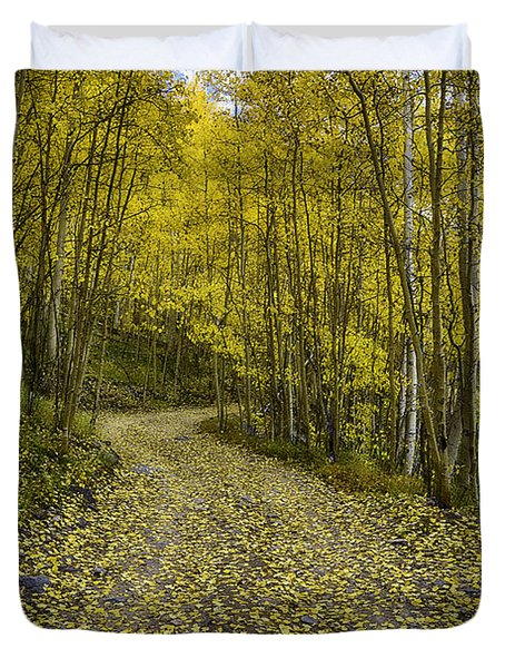 Golden Aspen Road Duvet Cover