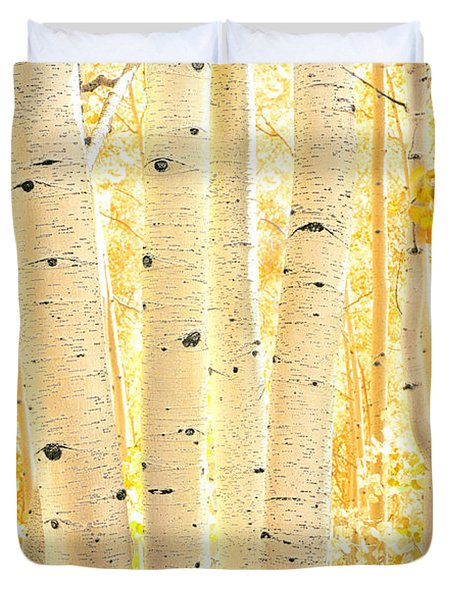 Golden Aspens Utah Duvet Cover