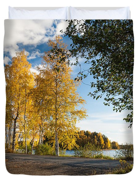 Golden Autumn Birches Duvet Cover