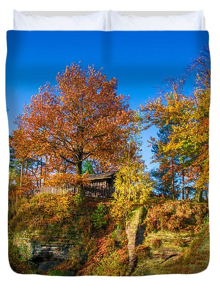 Golden Autumn On Neurathen Castle Duvet Cover