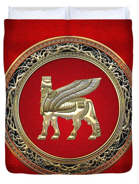 Golden Babylonian Winged Bull  Duvet Cover