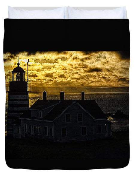Golden Backlit West Quoddy Head Lighthouse Duvet Cover by Marty Saccone