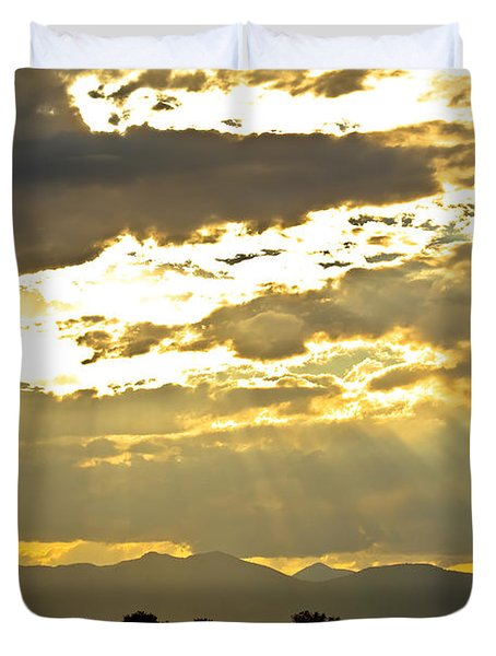 Golden Beams Of Sunlight Shining Down Duvet Cover by James BO  Insogna