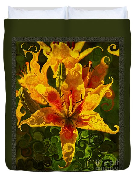 Duvet Cover featuring the painting Golden Beauties by Omaste Witkowski