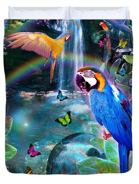 Golden Bluebirds Paradise Version 2 Duvet Cover by Alixandra Mullins