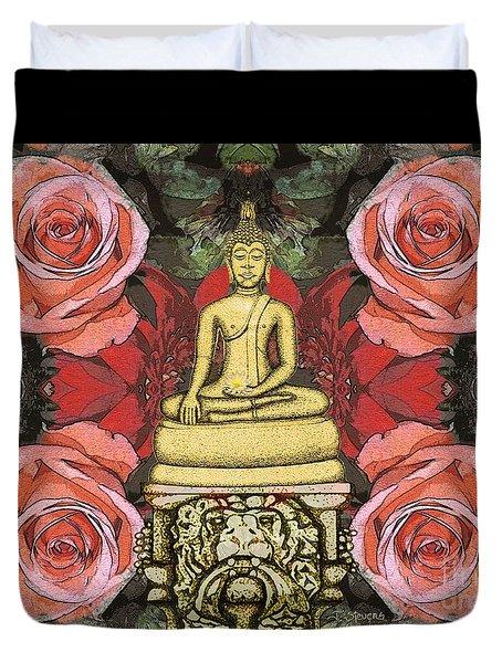 Golden Buddha In The Garden Duvet Cover
