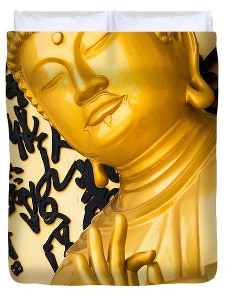 Golden Buddha Statue Duvet Cover