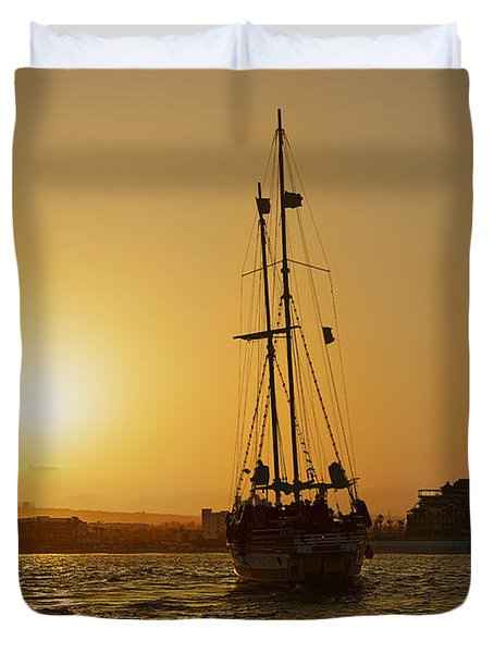 Duvet Cover featuring the photograph Golden Cabo Sunset by Christine Till