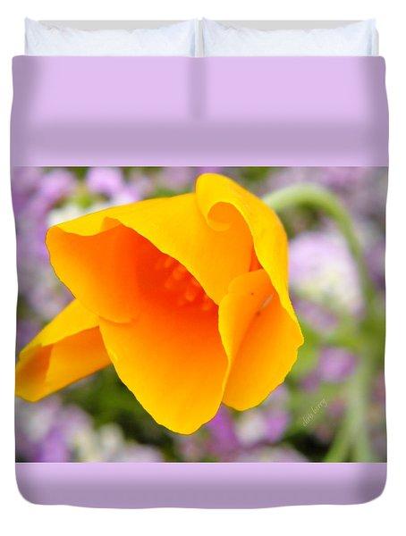Golden California Poppy Duvet Cover by Chris Berry