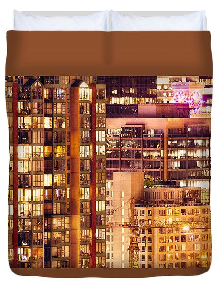 Duvet Cover featuring the photograph City Of Vancouver - Golden City Of Lights Cdlxxxvii by Amyn Nasser
