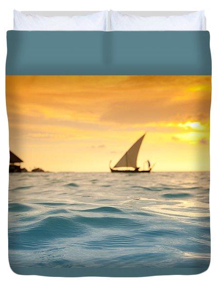 Golden Dhoni Sunset Duvet Cover