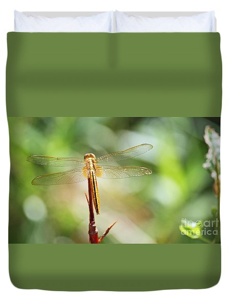 Duvet Cover featuring the photograph Golden Dragonfly by Terri Mills