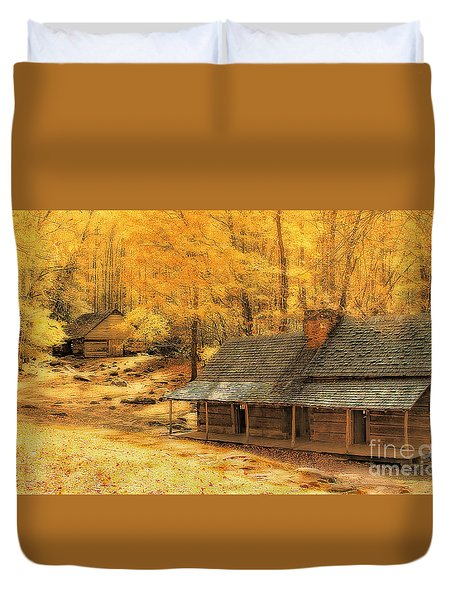 Duvet Cover featuring the photograph Golden Dream Home by Geraldine DeBoer