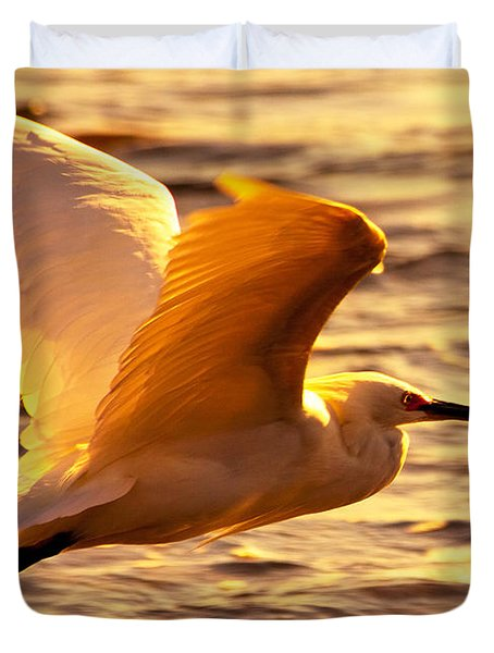 Golden Egret Bird Nature Fine Photography Yellow Orange Print  Duvet Cover by Jerry Cowart