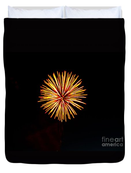 Golden Fireworks Flower Duvet Cover by Robert Bales