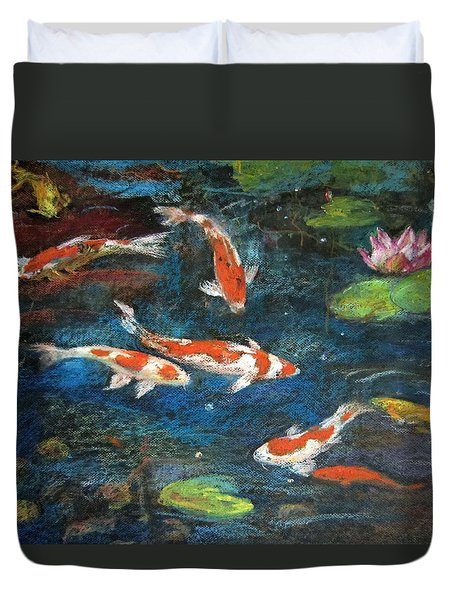 Duvet Cover featuring the painting Golden Fish by Jieming Wang