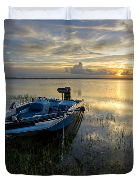 Golden Fishing Hour Duvet Cover by Debra and Dave Vanderlaan