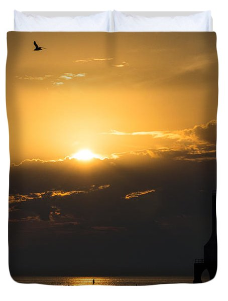 Golden Flight Duvet Cover