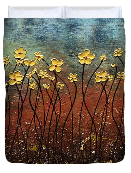 Golden Flowers Duvet Cover