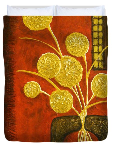 Golden Flowers Duvet Cover by Elena  Constantinescu